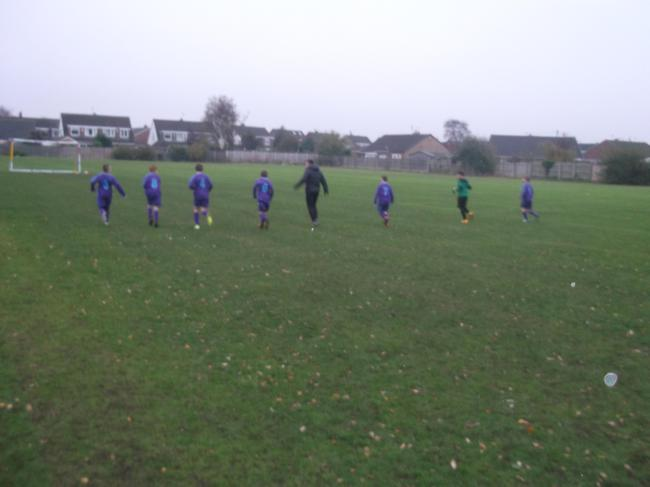 Warming up before the Redgate match.