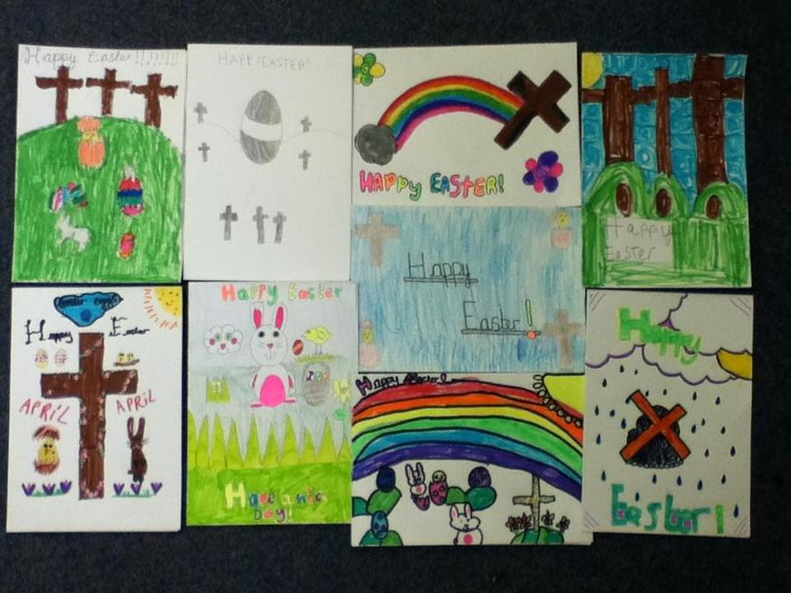 We made Easter cards for our families.