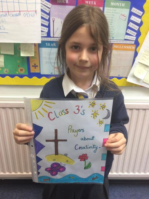 Beautifully coloured in front cover by a pupil.