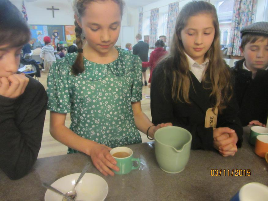 Making tea with our rations of tea leaves