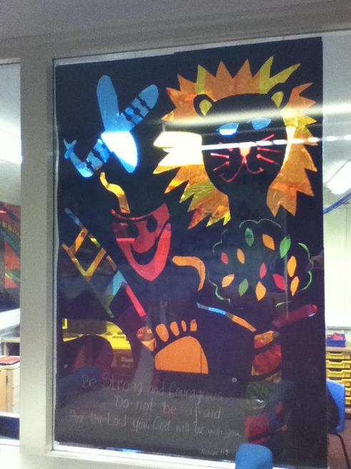 We designed and made a window to depict 'Courage'