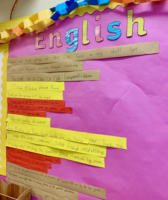 An example of our English display with sentences written by the Year 5 children.