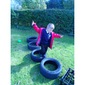 We jumped in & out of the tyres, counting our jump