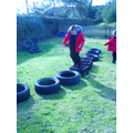 We balanced on the tyres and crates.