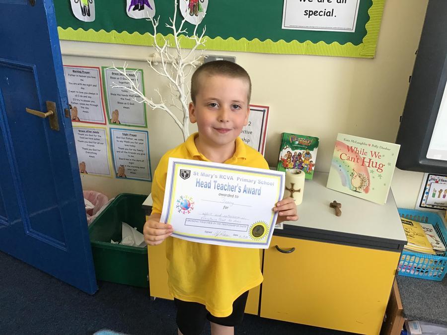 Head teacher award! Well done Danny