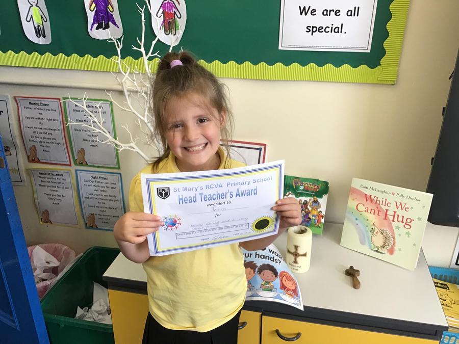 Head teacher award! Well done Jessica
