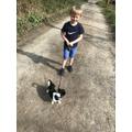 Kai walking his dog Rex