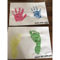 Colourful hand and footprints