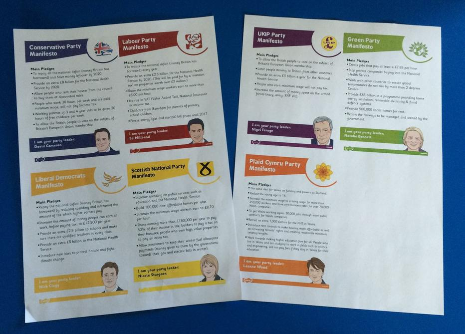 We read a brief version of each party's Manifesto.