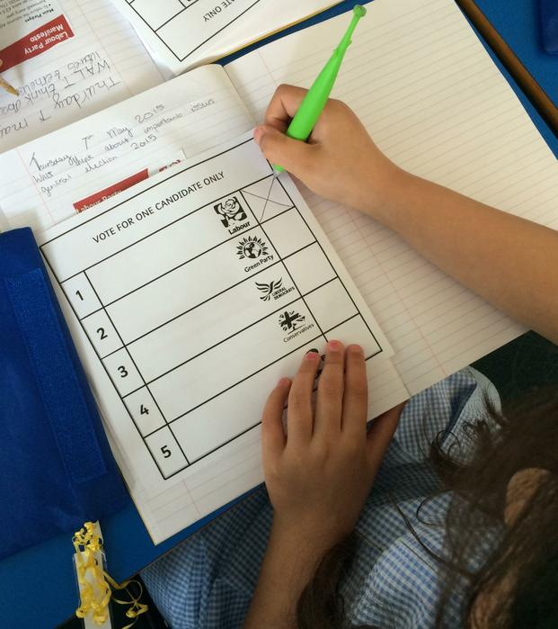 Next, we used our ballot papers to choose a party.