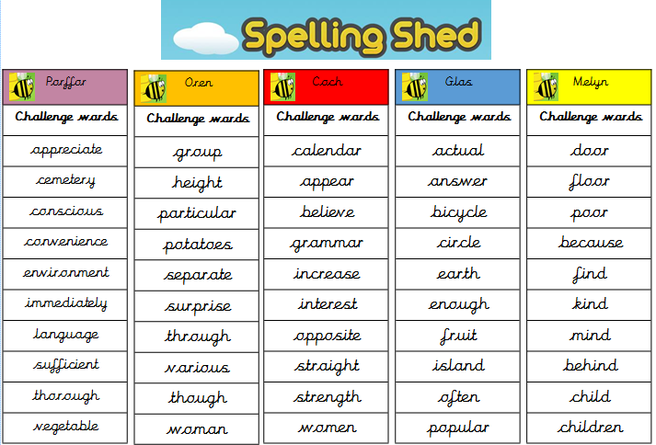 Please learn these challenge word spellings for our mega spelling test on 08.01.21