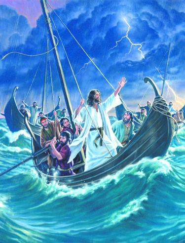 Jesus calms the storm on the lake