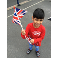 Having fun waving our British Flag at playtime!