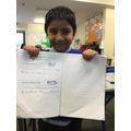 Rayyan is super proud of his sentences! Excellent capital letters and full stops Rayyan!