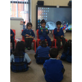 Playing instruments to nursery rhymes