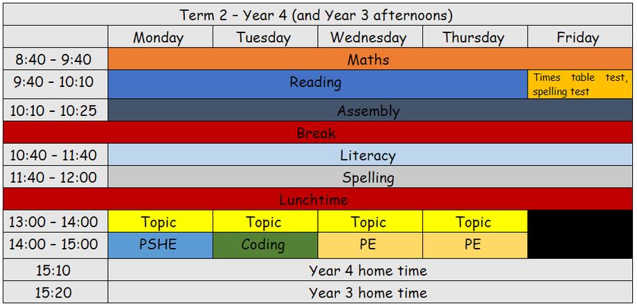 Term 2 timetable