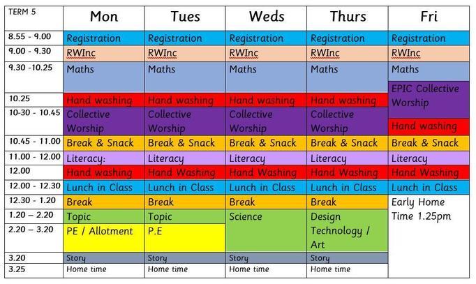 Term 5 Timetable