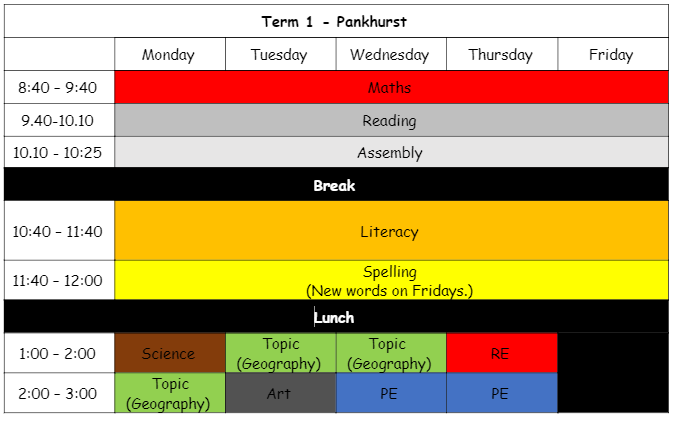 Term 1 timetable