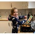 Harriet cooking