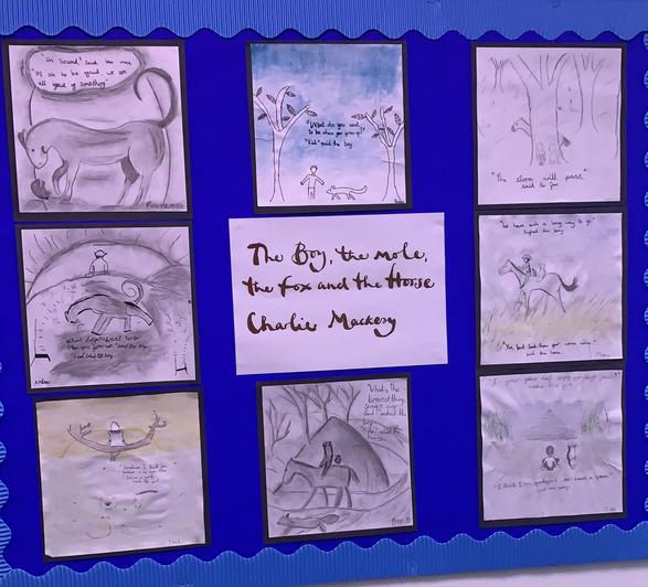 The children worked well to create their own interpretation of the art work from the book.