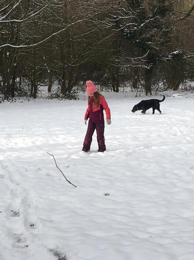 Ella out in the snow with her dogs!