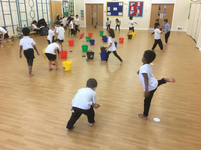 Practising our throwing