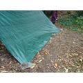 Weighing the tarpaulin down.