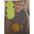 Arthur completing his poetry lesson - with spaghetti!