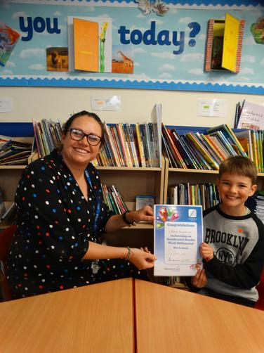 Special reading award for reading over 1 million words in our Accelerator Reading Scheme