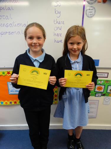 Awarded for excellent effort in homework and English.