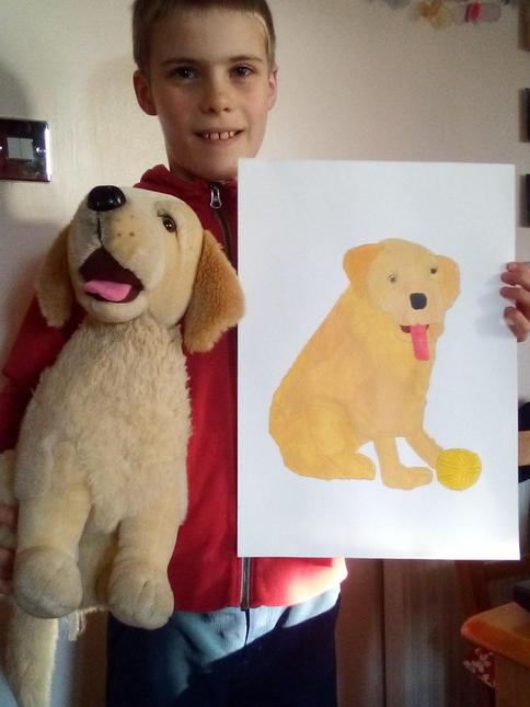 Luke's portrait of his favourite soft toy