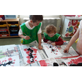 Using straws, brushes and mixing to paint cherry blossoms