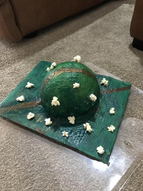 Laila (Holly) Paper Mache Hill with Popcorn Sheep!