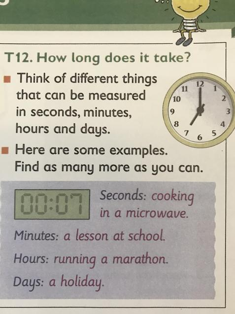 Think about what unit of time you would use for different activities