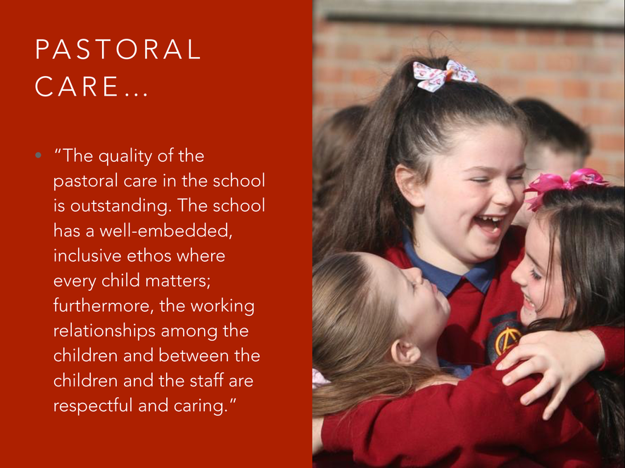 I HAVE INCLUDED THIS QUOTE FROM THEIR REPORT AS IT IS THE MOST IMPORTANT FOR ME AS THE PRINCIPAL OF OUR SCHOOL AND I THINK ALSO AS A PARENT.
