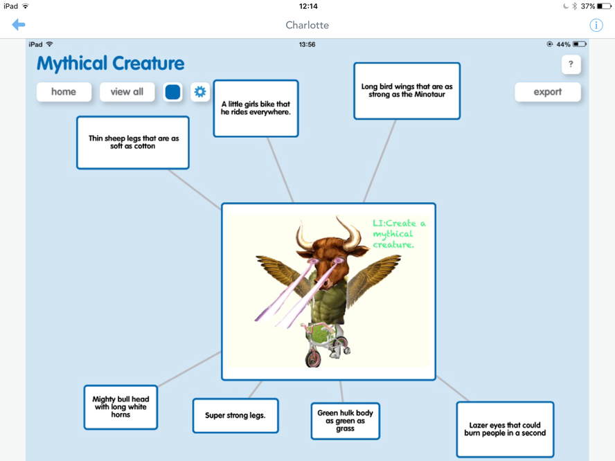Using Explain Everything to create mythical creatures and Popplet to explain and describe - How creative!