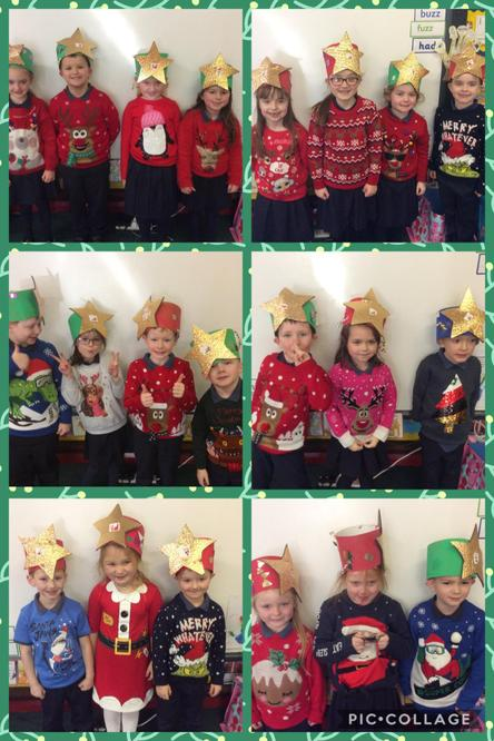 Mrs Enright's class with their Christmas hats.