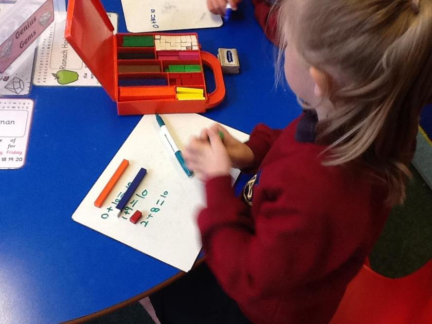 Using cuisenaire to practice number bonds.