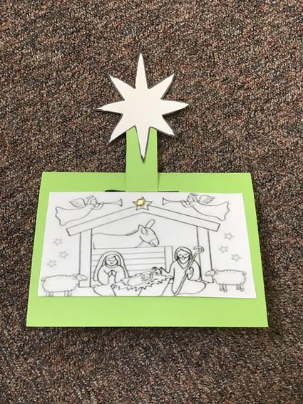 9. Make a hole going through the front of the card and the strip and put in your split pin