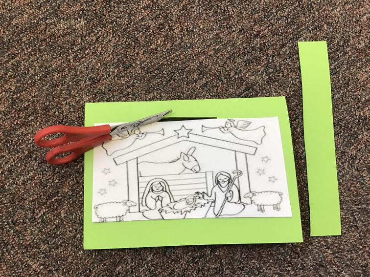 4. Cut the 8cm line and cut another strip of card/paper.