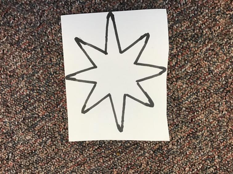 5. Draw a large star on another piece of card/paper.
