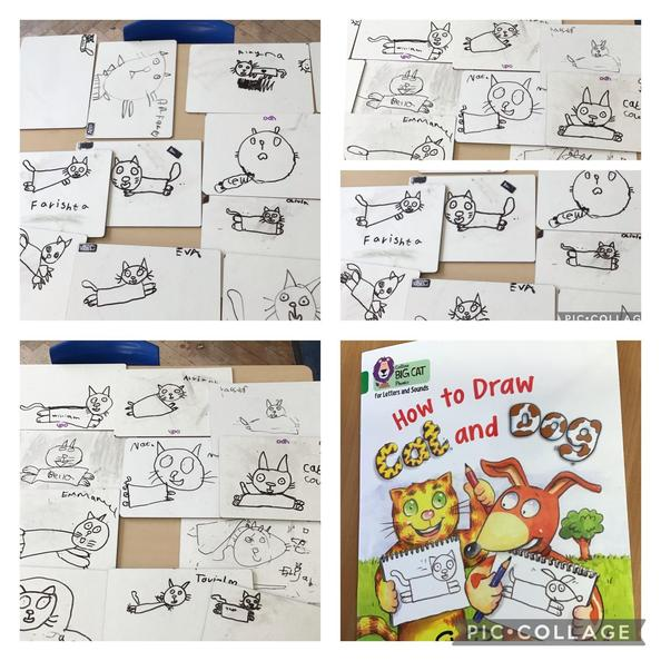 We also followed an instructional text to draw Cat!