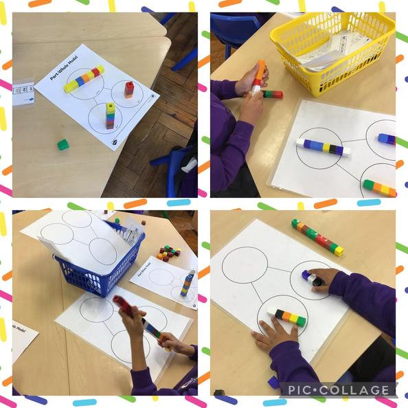 This week we have been learning how to add numbers using the whole part model.