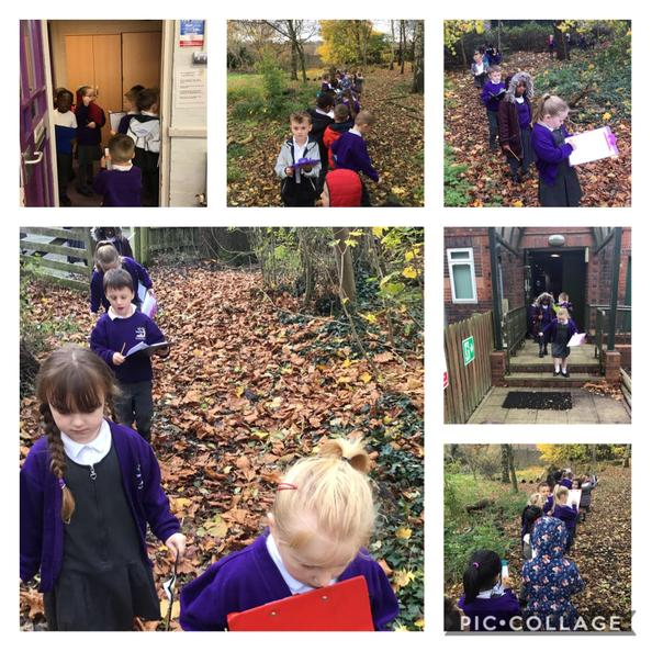We created a set of instructions from our classroom to the stage in the woods.