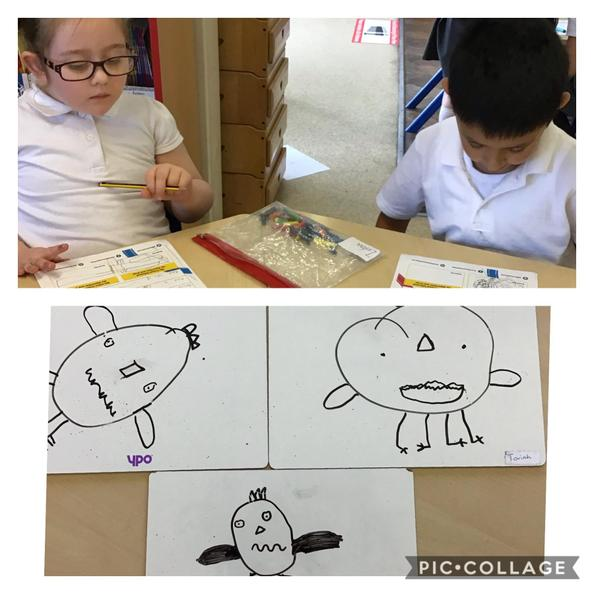 We followed an algorithm to draw a crazy character, then designed our own for a partner.