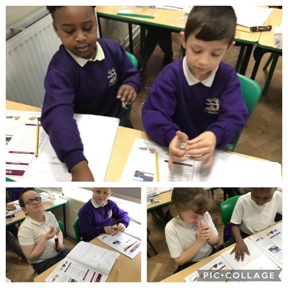 Year 3 have been closing their eyes to identify different rocks!