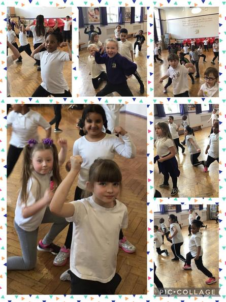 In P.E we followed and created a circus dance.  We finished with a strongwoman/man pose.