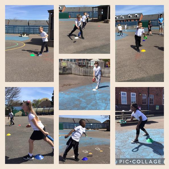 We have been practising an underarm throw in PE outside today. Yay for the sunny weather!