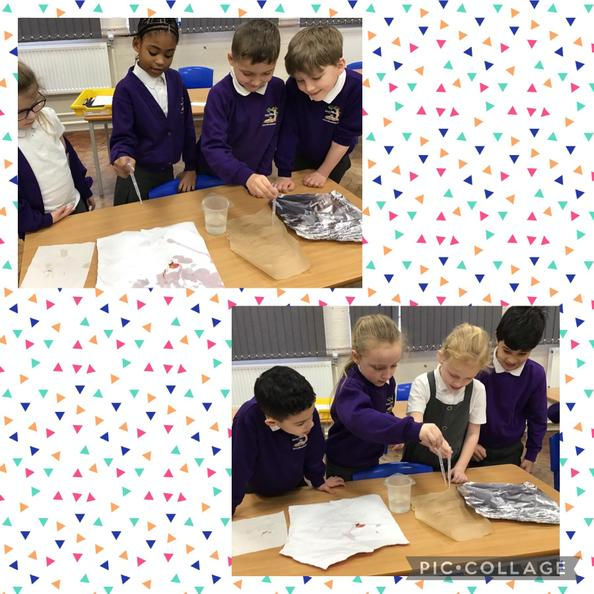 We conducted an experiment to find out which paper was the most water resistant.