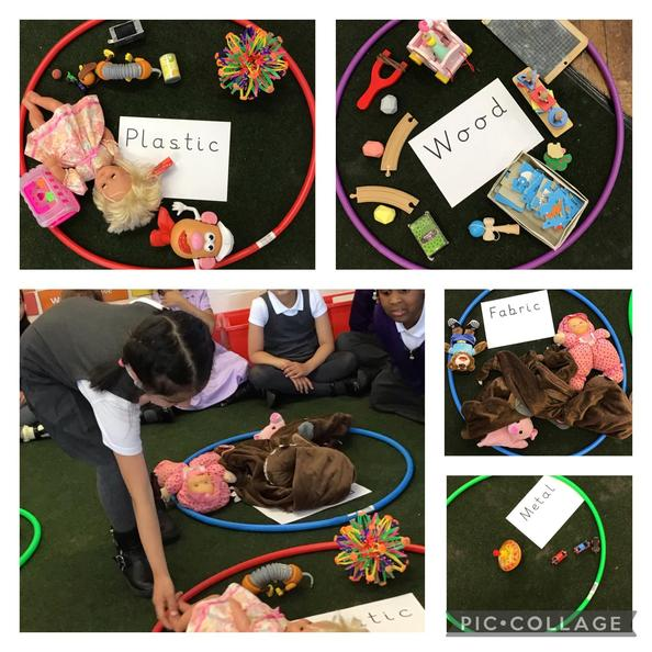 We have sorted toys according to the materials that they are made out of.